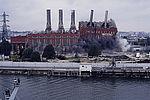 Destruction du bâtiment de l'usine Arrighi le 16 octobre 1991 © DR