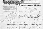 Exemple de papier à en-tête d'une plâtrière de Vitry-sur-Seine, les Établissaient Paupy, daté du 2 mars 1914. © Archives municipales